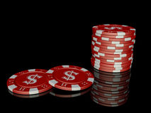 3d poker chips with reflection. Computer generated red poker chips with reflections Royalty Free Stock Photos