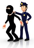 3D police arresting a thief Royalty Free Stock Images