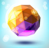 3d polygonal shape. Abstract 3d polygonal sphere vector design element Royalty Free Stock Photography