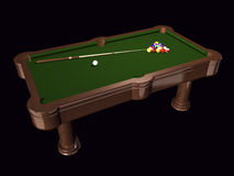 3D pool table on black Royalty Free Stock Photos