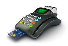 3D POS-terminal. With credit card isolated Royalty Free Stock Image