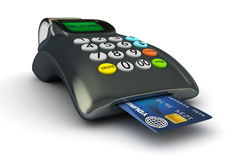 3D POS-terminal. With credit card isolated Stock Images