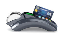 3D POS-terminal. With credit card Royalty Free Stock Photos