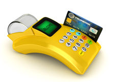 3D POS-terminal. Yellow 3D POS-terminal with credit card Royalty Free Stock Photo