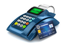 3D POS-terminal. Blue 3D POS-terminal with credit card Stock Images