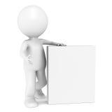 3D pouco caráter humano com a caixa em branco do produto ilustração do vetor