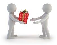 3d povos pequenos - caixa de presente Imagens de Stock