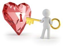 3d povos pequenos - chave do coração Fotos de Stock Royalty Free