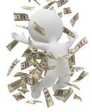 3d povos pequenos - chuva do dinheiro Fotografia de Stock