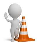 3d povos pequenos - cone do tráfego Fotografia de Stock