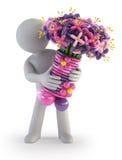 3d povos pequenos - flor de balão Fotografia de Stock Royalty Free