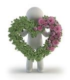 3d povos pequenos - Rosa na forma do amor Fotografia de Stock Royalty Free