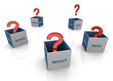 3d pregunta los rectángulos de las palabras Foto de archivo libre de regalías