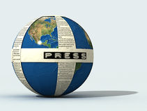 3d  Press globe. Newspaper on globe, digital art work Stock Photos