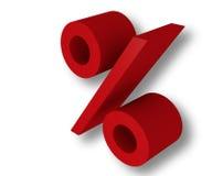 3d procent czerwień Zdjęcia Royalty Free