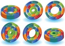 3D Process Diagrams. Set of 6 process diagrams in 3D Stock Image