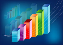 3d Profit graph. Colorful upward profit graph with blue background Royalty Free Stock Photography