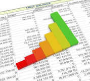 3d progress bar on trial balance sheet Stock Photo