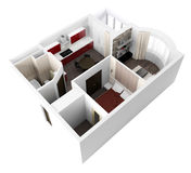 3d project of interior apartament Royalty Free Stock Photography
