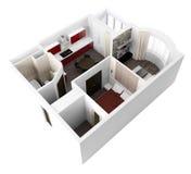 3d project van binnenlandse apartament Royalty-vrije Stock Fotografie