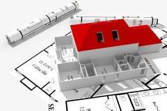 3d projektów domu odosobniony nowożytny biel royalty ilustracja