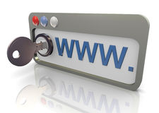 3d protected browser. 3d render of protected internet browser. Concept of safe and secure internet surfing Stock Photo