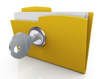3d protected folder. 3d render of folder protection. Concept of data protection Royalty Free Stock Photos