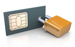 3d protected simcard Stock Photos