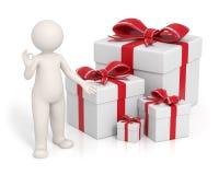 3d pudełek prezenta mężczyzna czerwień Obraz Stock