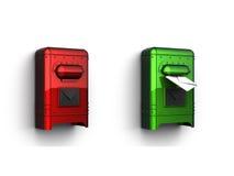 3d pudełkowatej końcówka zieleni poczta czerwień Fotografia Royalty Free