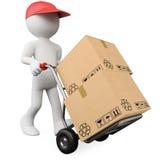 3d pudełek ręki dosunięcia ciężarówki pracownik Obrazy Royalty Free