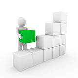 3d pudełka sześcianu zieleni ludzki biel Obrazy Stock
