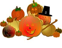 3d pumpkins with pilgrims hat. Old hickory walking stick with 3d pumpkins and pilgrims hat on white in 3d Stock Photo