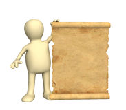 3d puppet with the ancient manuscript Stock Photography
