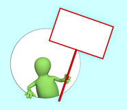 3d puppet with the blank poster. 3d person - puppet with the blank poster Royalty Free Stock Photo