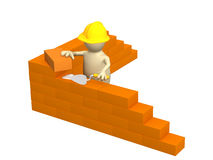 3d puppet - builder. Building a brick wall. Object over white Royalty Free Stock Photos