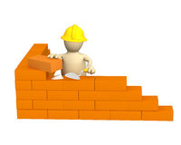 3d puppet - builder, building a brick wall. Object over white Royalty Free Stock Photos