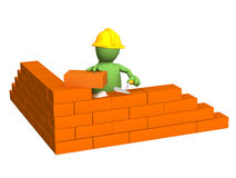 3d puppet - builder, building a brick wall. Object over white Royalty Free Stock Images