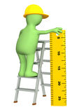 3d puppet - builder with ruler. 3d builder with ruler - over white Stock Image
