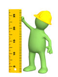 3d puppet - builder with ruler. 3d builder with ruler - over white Stock Photography
