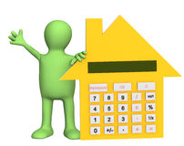 3d puppet with calculator in form of house. Object over white Stock Photo