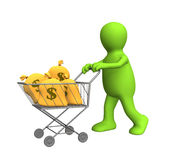 3d puppet, carrying bags with dollars. In the carriage. Objects over white Stock Images