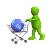 3d puppet, carrying the globe in a market basket. Objects over white Stock Photo