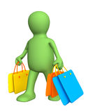 3d puppet, carrying packages with purchases Stock Photos