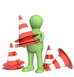 3d puppet with emergency cones. Objects over white Stock Photography