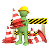 3d puppet with emergency cones Royalty Free Stock Photo