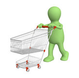 3d puppet, going for purchases Stock Photos