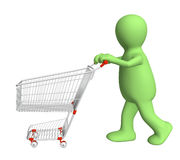 3d puppet, going for purchases Royalty Free Stock Image