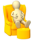 3d puppet, having a rest in a soft armchair. Isolated over white Stock Photo