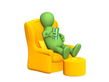 3d puppet, having a rest in a soft armchair Stock Images